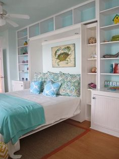Beach Cottage Bedroom!http://nauticalcottageblog.com-- This would be awesome...especially if it was a murphy bed!... With a fold up desk on the back!