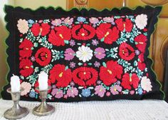 137. Vintage hand embroidered pillowsham hand embroidered