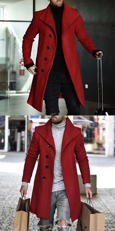 Casual Lapel Pure Color Single Breasted Overcoat Men's casual and comfy coats for fall and winter, fashion style and comfortable. Mens Fashion Suits, Blazer Fashion, Fashion Outfits, Winter Fashion, Fashion Trends, Outfits Casual, Stylish Mens Outfits, Mode Masculine, Long Cardigan Coat