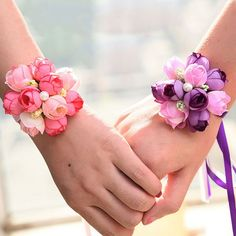 Wedding Beads Roses Ribbon Corsage Bridesmaid Wrist Party Flower Bracelet UK