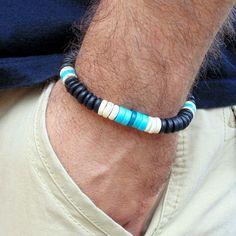 Men surfer bracelet wood  bracelete chrysocolla  black wood turquoise coco bead #Handmade #Surfer