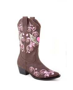 Flower girl boots!!   Roper Kid's Brown Fashion With Multi Color Wing And Heart Boot