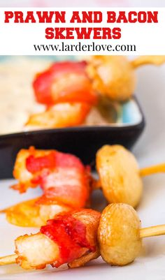 These super easy and tasty prawn and bacon skewers make the perfect addition to your party platters. #partyfood #prawns #partynibbles #seafood #larderlove