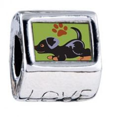 Rottweiler Black Love European Charms  Fit pandora,trollbeads,chamilia,biagi and any customized bracelet/necklaces. #Jewelry #Fashion #Silver# handcraft #DIY #Accessory