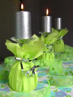 Wrap tissue paper around a wine glass! I used this idea and it is so pretty! Get your wine glasses, ribbon, and tissue paper from Dollar Tree. It'll look really nice and be cheap as well! I got my candles from quickcandles.com for super cheap as well. $18 for 70 candles!! I had purple candles and silver tissue paper with purple ribbon. :) sweet 16 idea?