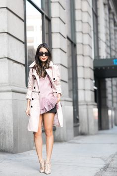 Spring Trench :: Pink detachable trench
