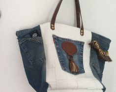 Denim bag blue denim purse Quilted jeans purse by DutchDaisyDesign