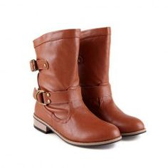 $17.50 Casual Women's Knight Boots With Solid Color Belts Buckles Round Head Design