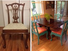 Old Reproduction Chippendale Chairs Painted Glossy Turquoise With Orange  Printed Seats
