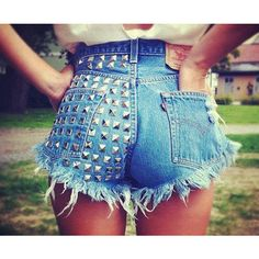 Dangers Half Studded Vintage Levis Shorts ❤ liked on Polyvore featuring shorts, vintage shorts, frayed jean shorts, jean shorts, silver shorts and cut-off jean shorts