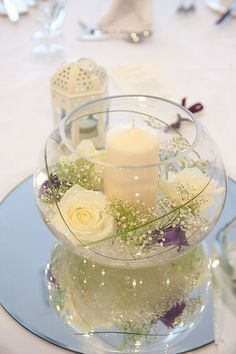 bowl with 4 white flower , then one of each color 4 bridesmaids with candle