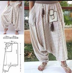 Dress Sewing Patterns, Clothing Patterns, Mens Suit Colors, Harem Pants Pattern, Sewing Blouses, Drop Crotch Pants, Mode Hijab, T Shirt Diy, Fashion Sewing