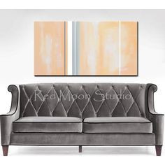 Abstract Painting, Peach and Grey Abstract Art Large 48x24, Peach and... ($259) ❤ liked on Polyvore featuring home, home decor, wall art, moon wall art, textured wall art, vertical paintings, vertical wall art and stripe painting