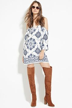 Contemporary Open-Shoulder Floral Dress