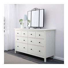 IKEA - HEMNES, Chest of 8 drawers, white stain, , Smooth running drawers with pull-out stop.Made of solid wood, which is a hardwearing and warm natural material.If you want to organise inside you can complement with SKUBB box, set of 6.