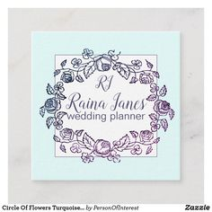 Circle Of Flowers Turquoise Wedding Planner Square Business Card Floral Wreath Watercolor