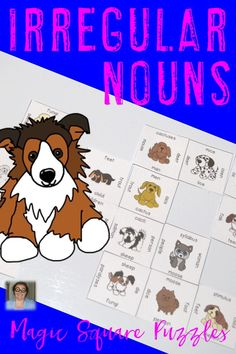 Are you teaching irregular plural nouns in your classroom? Then check out this Magic Square Puzzle! Students in 2nd, 3rd, 4th, and 5th grade will benefit from this puzzle. It'll help address CCSS L.2.1b and L.3.1b. Magic Square Puzzles are great for centers, review, early and fast finishers, enrichment, GATE, test prep, and critical thinking skills. Click through for more information! $