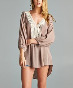 Look at this #zulilyfind! The Deal Cottage Taupe Mila Crochet Hi-Low Tunic by The Deal Cottage #zulilyfinds