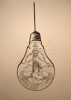 """What if there was a tiny lighthouse inside of every light bulb?What if there was a tiny lighthouse inside of every light bulb? lightbulb drawing lighthouseAffiche Illustration Noir et blanc ampoule """"tenir une Pencil Art Drawings, Art Drawings Sketches, Cute Drawings, Light Bulb Drawing, Light Bulb Art, Lighthouse Drawing, Lighthouse Art, Landscape Drawings, Doodle Art"""