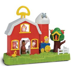 $49.99 - This charming interactive barnyard play set features adorable animals and a barn includes a sliding duck with clicking and quacking sounds and a bird that tweets when pushed, a pig that oinks, a cow that moos, a horse that neighs, and a rooster that crows with rewarding sounds when placed in their correct spots. Pull the fruits and the tree plays melodies. The tractor makes horn and engine sounds!rDIMENSIONS: 16 X 6.5 X 12 ASSEMBLED
