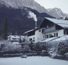 Zugspitze, the tallest mountain in Germany seen from Grainau city