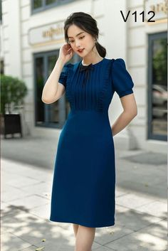 Pink Party Dresses, Blue Dresses, Casual Dresses, Casual Outfits, Moda China, Casual Frocks, Dress Outfits, Fashion Dresses, Corporate Outfits