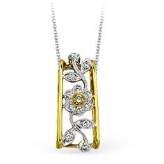 Flower Collection - This glimmering 18K white and yellow  pendant is comprised of .29ctw round white Diamonds and .03ctw round yellow Diamonds. - MP1272