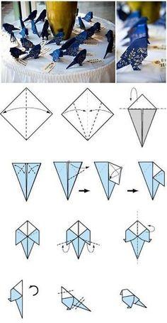 Птички оригами - с визитками (Diy)