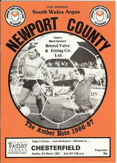 Newport Co 1 Chesterfield 0 in March 1987 at Somerton Park. The programme cover #Div3