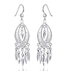 MATERIA 925 Silber Ohrhänger lang LUMIERA - 18x65mm Damen Ohrringe orientalisch inkl. Box #SO-222