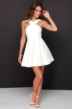 White prom dress, simple prom dresses, lace prom dresses, simple prom dress, Sweet 16 dress by Hot Lady - Homecoming Dresses Simple Homecoming Dresses, Simple Prom Dress, Hoco Dresses, Casual Dresses, Summer Dresses, White Graduation Dresses, 8th Grade Graduation Dresses, 8th Grade Formal Dresses, Dresses For Party