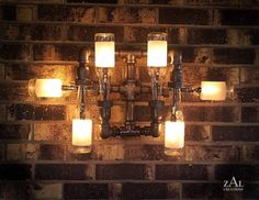Beer bottle wall mounted lighting fixture, so cool.