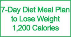 7-Day Diet Meal Plan to Lose Weight: 1,200 Calories #nutritionplan1200caloriediet