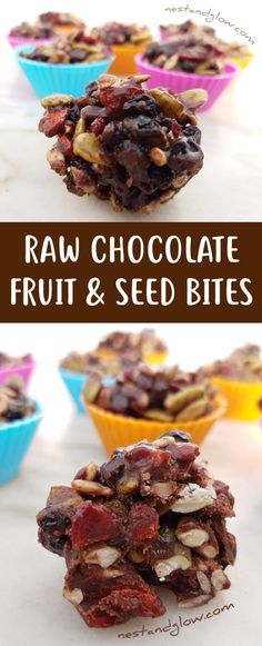 These beautiful and simple treats let real and wholesome ingredients shine. With a raw chocolate base and fruit and seeds, these lovely bites will count as servings of fruit and veg. Whip up these for skin that glows! Healthy Desserts, Raw Food Recipes, Snack Recipes, Healthy Recipes, Raw Desserts, Candy Recipes, Sweet Recipes, Yummy Recipes, Breakfast Recipes