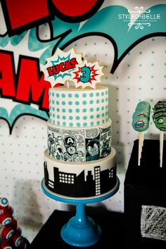 Avengers Birthday Cake by Sweet Tiers Styling by Styled by Belle Beautiful Cakes, Amazing Cakes, Avengers Birthday Cakes, Bithday Cake, Cake Birthday, Yummy Treats, Sweet Treats, Disney Frozen Cake, Walt Disney