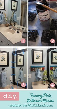 Diy bathroom mirror frame...