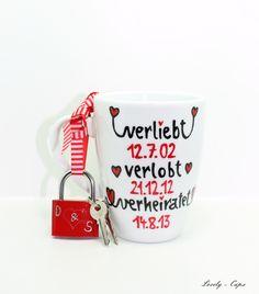 Liebesschloss mit Tasse DAS Hochzeitsgeschenk  von Lovely-Cups   auf DaWanda.com