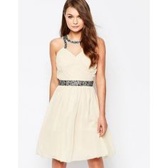 Little Mistress High Neck Embellished Skater Dress ($57) ❤ liked on Polyvore featuring dresses, pink, pink skater dress, high neck dress, white keyhole dress, white high neck dress and layered dress