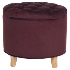 Perfect for stowing shoes in your walk-in closet or media accessories in the den, this luxe storage ottoman showcases a button-tufted top and exposed oak leg...