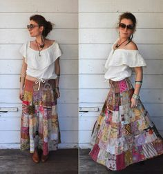 India Vintage Skirt // Patchwork // Colorful // by LaDeaDeiSogni, $29.00