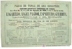 CARTEL TOROS SAN SEBASTIAN AGOSTO 1890 , 4+1 CORRIDAS , (Papel - Carteles Gran Formato - Carteles Toros)