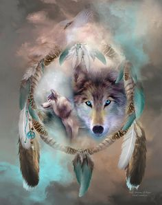 This painting of a wolves within a dream catcher, honoring the spirit and beauty of the wolf, is from the Dream Catcher Collection of art by Carol Cavalaris.