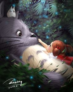 Totoro and Mei, from Tonari no Totoro (a.k.a. My Neighbor Totoro)