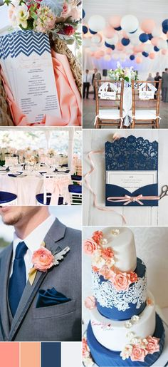 2017 navy blue and peach wedding color ideas