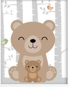 Woodland Theme, Woodland Nursery, Woodland Creatures, Woodland Animals, Animal Nursery, Nursery Art, Animal Drawings, Cute Drawings, Decoration Creche