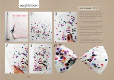 Just contact paper and confetti. Could also make for a great transparent envelope with confetti, just make the same and instead of tying into a bow, cutting an evelope template out of it