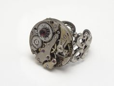 Steampunk Ring antique vintage 15 ruby jewel watch movement gears circa 1920 silver brass genuine faceted round garnet neo victorian gothic filigree adjustable original jewelry design by Steampunk Nation 736