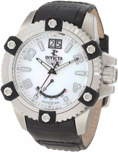 Invicta Men's 1726 Arsenal Reserve White MOP Dial Black Leather Watch Invicta. $189.99. Retrograde day and date window. Flame-fusion crystal; brushed stainless steel case; black leather strap. Water-resistant to 100 m (330 feet). White mother of pearl dial with black hands, arabic numerals and hour markers; luminous; unidirectional stainless steel bezel with black rubber accents. Swiss quartz movement