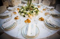Wedding Dinner - private Villa Roma - Church Wedding in Rome - weddingplanner: www.prime-moments.com Wedding Dinner, Church Wedding, Rome Italy, Table Settings, Villa, Table Decorations, Home Decor, Wedding, Decoration Home