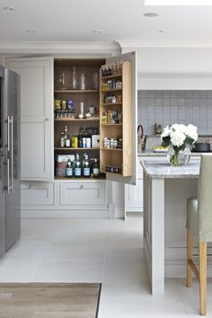 Bespoke Traditional Shaker Kitchen in Surrey by Brayer Design - Large Pantry…